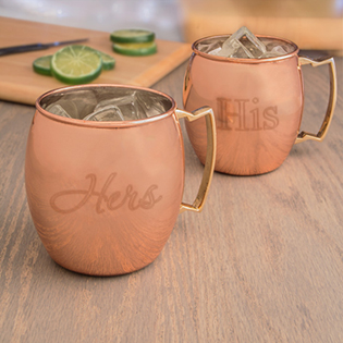 Moscow Mule Copper Mug w/ Unique Handle (Set of 2)