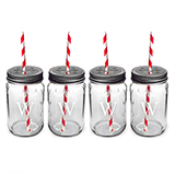 Personalized Mason Jars w/ Lids & Decorative Straws