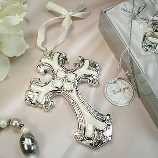 Medium Ivory Silver Deco Cross Ornament