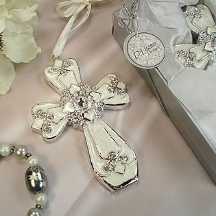 Medium Ivory Silver Classic Cross Ornament