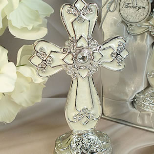 Medium Ivory Silver Classic Cross with Base