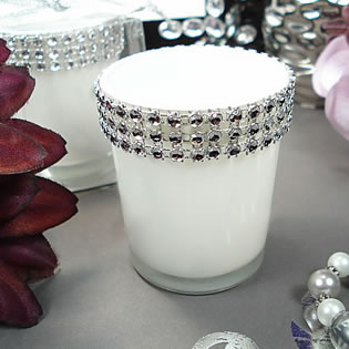 White Bling Tealight Candle Holder