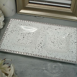 White Bling 2 Section Platter
