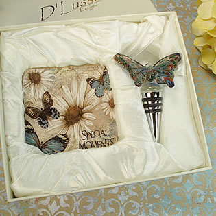 Murano Design Stopper with 2 Coaster Set - Butterfly