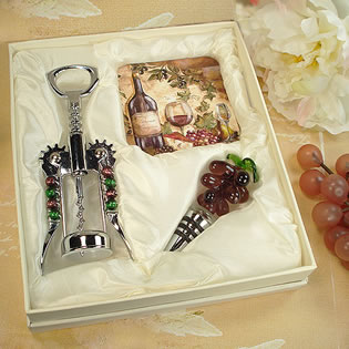 Murano Design Cork Screw & Stopper with 2 Coaster Set - Wine & Cheese