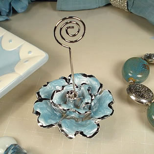 Deluxe Blue Rose Place Card Holder