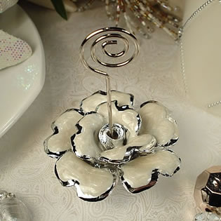 Deluxe White Rose Place Card Holder