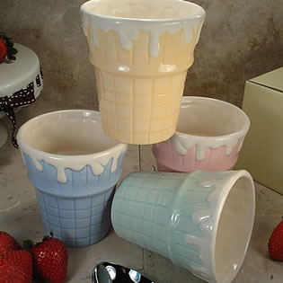 Set of 4 Cone Ceramic Ice Cream Cups - Assorted Colors