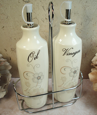 Oil & Vinegar Set with Metal Stand - Shimmer Design