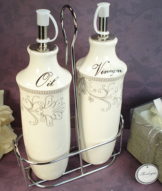 Oil & Vinegar Set with Metal Stand - Damask Design