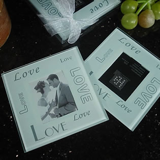 2 Piece Glass Photo Coaster Set - Multi Love