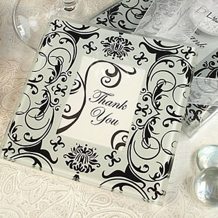 Black & White Damask Photo Coaster Set