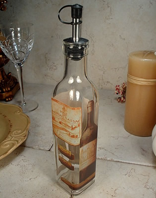 Medium Glass Oil Bottle - Wine Design