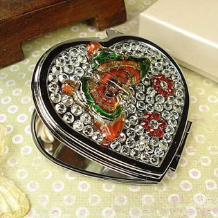 Heart Shape Compact with Butterfly and Stones