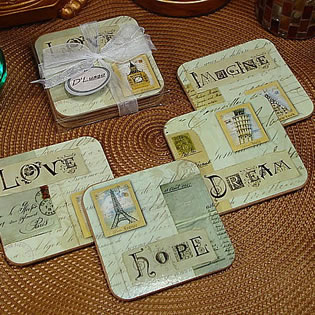 4Pc Wood Cork Coaster Set - Love Design