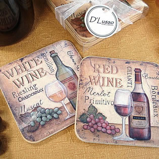 4Pc Wood Cork Coaster Set Antique - White Wine
