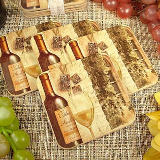 4Pc Wood Cork Coaster Set - Tuscan Wine