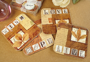 4Pc Wood Cork Coaster Set - Fall in Love