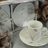 2 Cup 2 Saucer Pvc Box Grey Flower