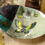 Murano Oval Dish - Butterfly Design