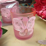 Pink Butterfly Tealight Candle Holder