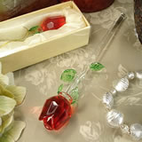 "6"" Crystal Stem Rose - Red"
