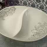 Porcelain 2 Section Dish - Grey Damask