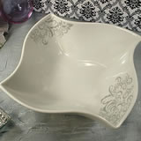 Porcelain Twist Dish - Grey Damask