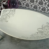 Porcelain Deep Oval Platter - Grey Damask