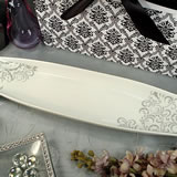 Porcelain Long Dish - Grey Damask
