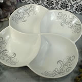 Porcelain 4 Section Dish - Grey Damask
