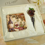 Murano Design Stopper with 2 Coaster Set - Wine & Cheese