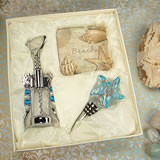 Murano Design Cork Screw & Stopper with 2 Coaster Set - Beach