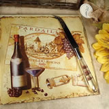 Cheese Board with Knife - Antique Wine Design