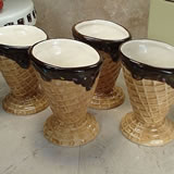 Set of 4 Small Ceramic Waffle Cone Ice Cream Cup