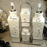 Oil & Vinegar, Salt & Pepper Set with Metal Stand - Deco Design