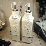 Oil & Vinegar Set with Metal Stand - Deco Design