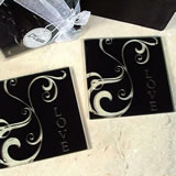 2 Piece Glass Coaster Set - Black Swirl Love
