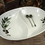 2 Section Dish with Olive Design