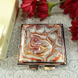 Murano Square Compact Mirror - Burgundy Design