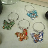 4Pc Wine Murano Style Glass Charm Set - Butterflies