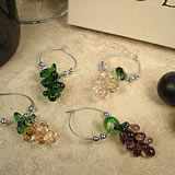 4Pc Wine Murano Style Glass Charm Set - Grapes