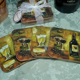 4Pc Wood Cork Coaster Set - Wine