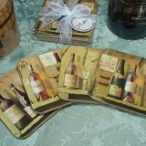 4Pc Wood Cork Coaster Set - Bottles