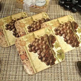 4Pc Wood Cork Coaster Set - Grapes