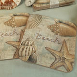 2Pc Wood Cork Coaster Set - Beach Design