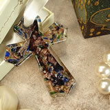 Murano Hanging Cross - Classic Blue Speckle