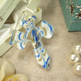 Murano Hanging Cross - Contempo Blue & White