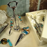 Murano Design 2 Pc Cork Screw & Stopper Set - Multi Color