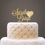 Personalized Wooden Names with Heart Cake Topper